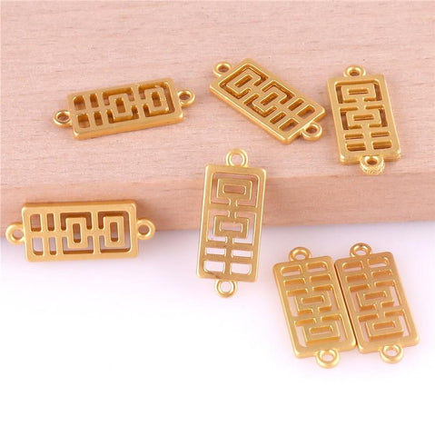 12PCS 23406 Gold Color Chinese Character Happy Charms Pendant for Chinese Wedding - Chinese Wedding