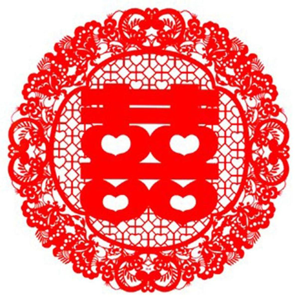 20 PCS Red Double Happiness Window Paper-cut Sticker Wedding Decoration - Chinese Wedding