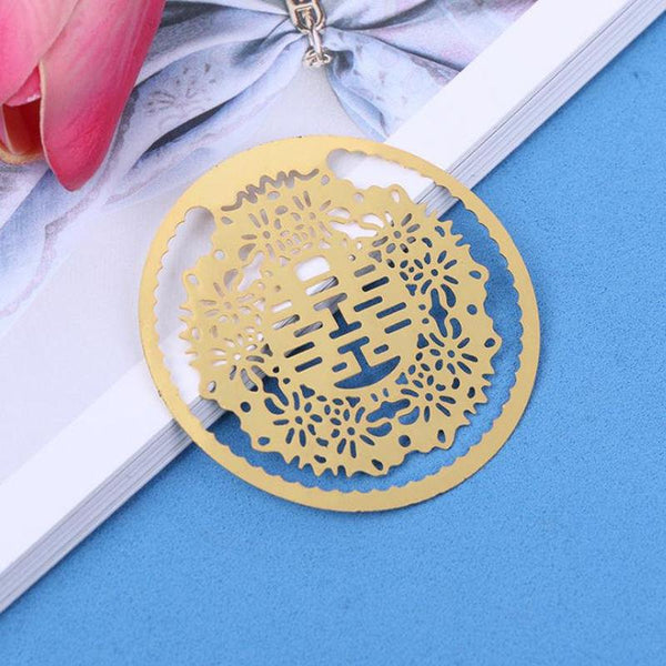 200PCS Double Happiness Gold Bookmarks Mtal with Tassels for Chinese Wedding - Chinese Wedding