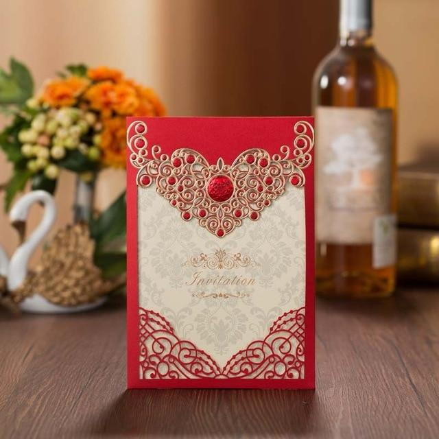 20PCS Laser Cut Floral Red Chinese Wedding Invitation Card - Chinese Wedding