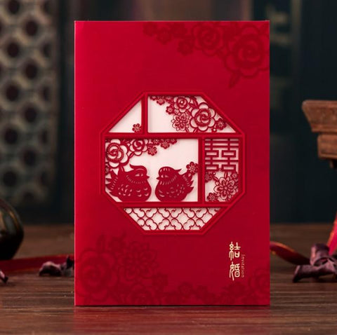 30PCS Double Happiness Love Bird Chinese Invitation Card - LF710 - Chinese Wedding