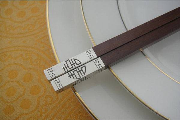 50 Pairs Double Happiness Gold Silver Red Sandalwood Wood Chopsticks for Chinese Weddings - SN1198 - Chinese Wedding