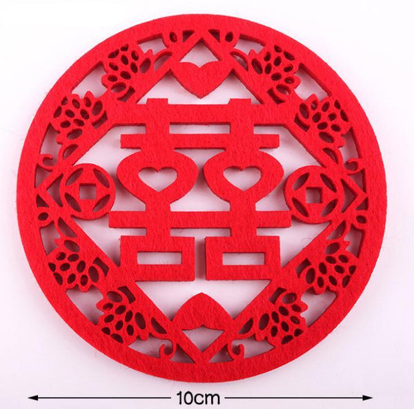500PCS Traditional Chinese Style Double Happiness Coasters Non-woven Fabric for Chinese Wedding - SN1126 - Chinese Wedding