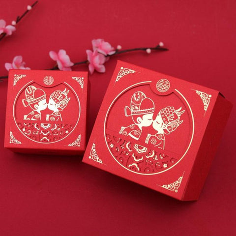 50PCS Double Happiness Chinese Wedding Gift Boxes - HZ703.