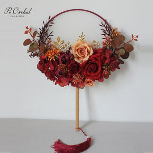Burgundy Wedding Bouquet Chinese Bridal Fan for Chinese Wedding - 191207 - Chinese Wedding