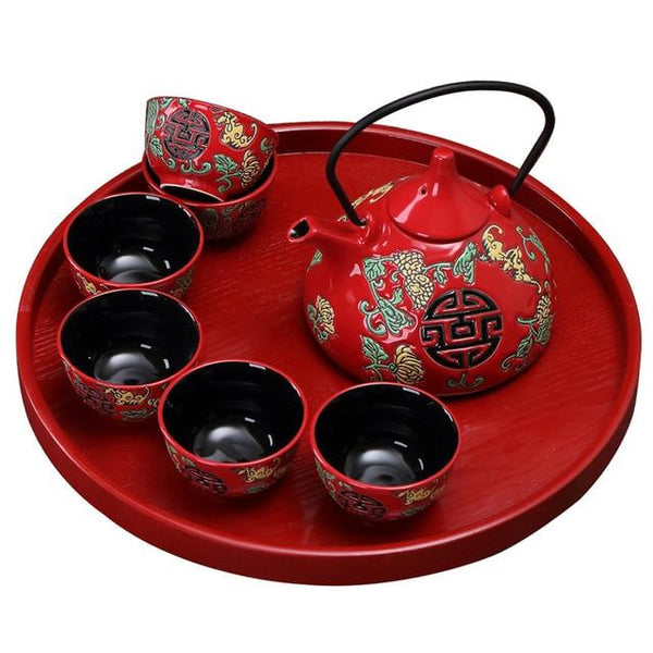 Chinese Traditional Wedding Double Happiness Ceramic Tea Set - Chinese Wedding