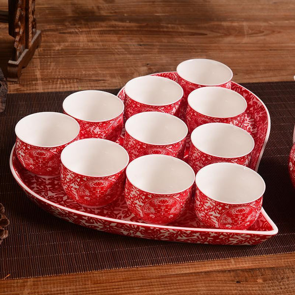 Chinese Wedding Ceramic Teapot and cups with Heart-Shaped Tray Set - Chinese Wedding