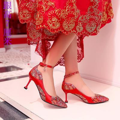 Chinese Wedding Red Bride Shoes Buckle Strap High Heels - Chinese Wedding