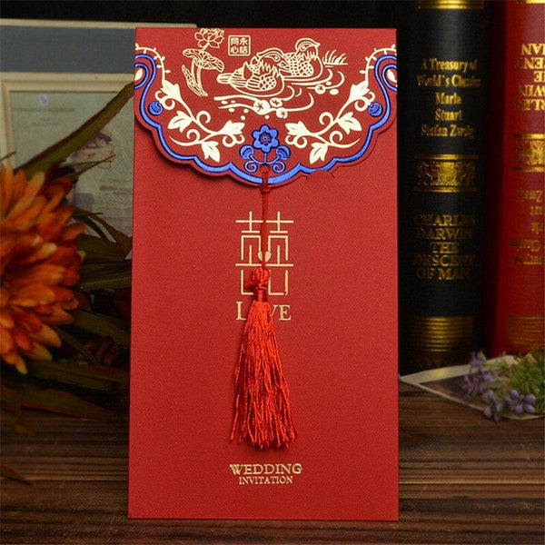 Creative Chinese Glitter blue Wedding Invitations Card & Envelope with Red Tassel - Chinese Wedding