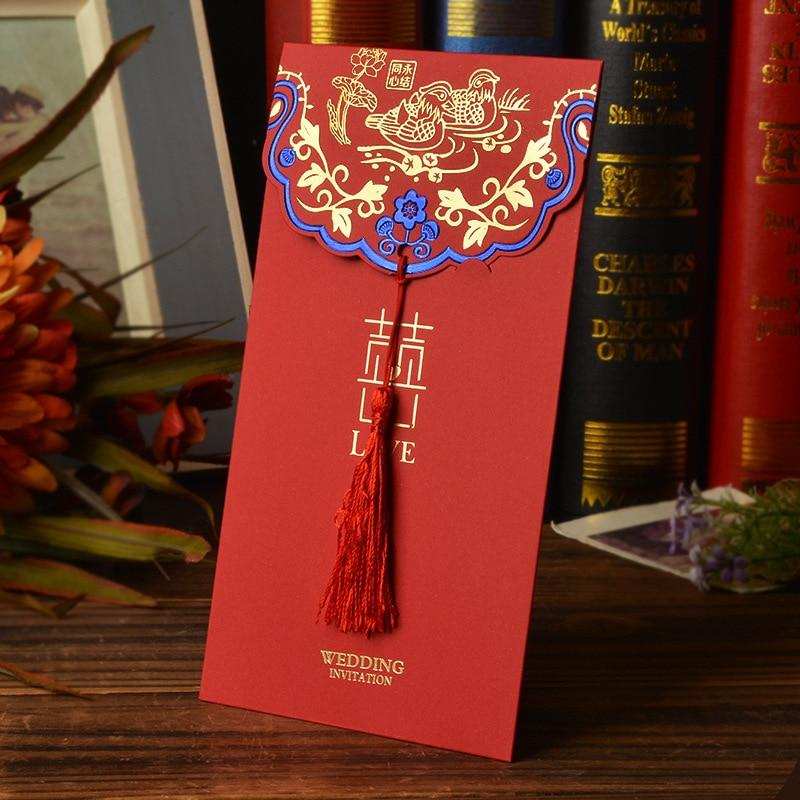 30 PCS Creative Chinese Glitter blue Wedding Invitations Card & Envelope with Red Tassel - Chinese Wedding