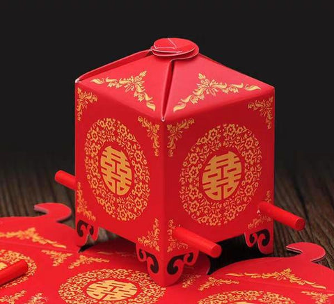 Double Happiness Sedan Chair Chinese Wedding Gift Box - Chinese Wedding