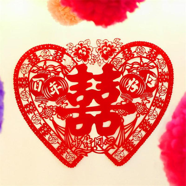 Heart-Shaped Paper Double Happiness Best Wishes Stickers for Chinese Wedding - L70511 - Chinese Wedding