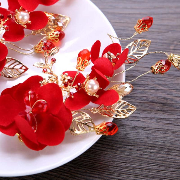 Bridal Red Flower Hair Accessories (1 PC) for Chinese Wedding