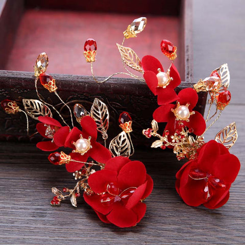 Bridal Red Flower Hair Accessories (1 PC) for Chinese Wedding - Chinese Wedding