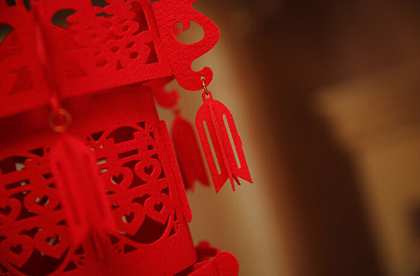 Red Double Happiness Knot Hanging Rooftop Lantern Chinese Wedding Decoration - Chinese Wedding