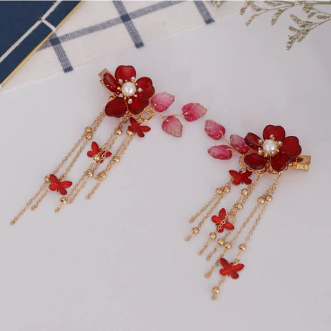 Bridal Red Flower Crystal Hair Accessories for Chinese Wedding - Chinese Wedding