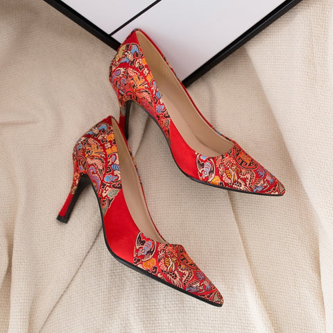 Chinese Wedding Red Bride Shoes High Heels - Chinese Wedding