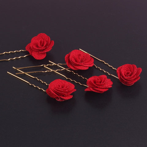 Bridal 5 PCS Vintage Chinese Red Rose Hair Clip for Chinese Wedding - Chinese Wedding