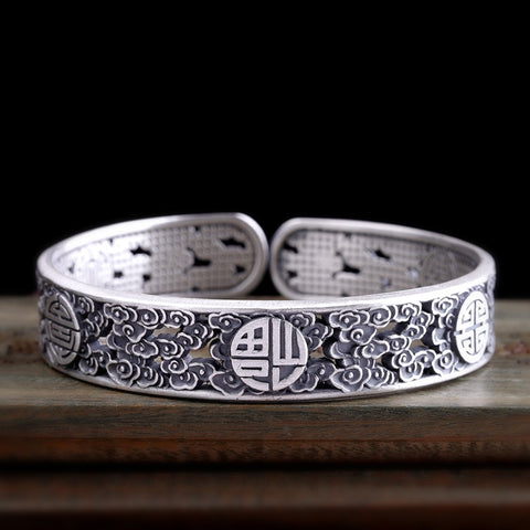 Thai Silver Double Happiness S999 Bangles Bracelet for Chinese Wedding