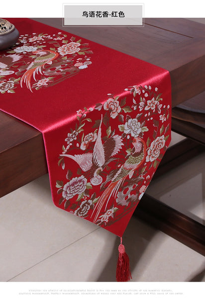 Birds and Flowers Table Runner for Chinese Wedding
