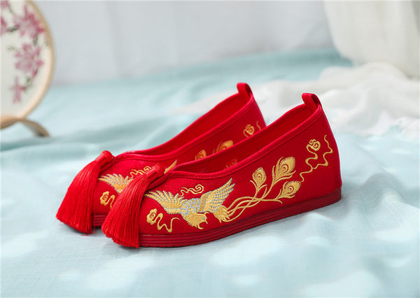 Red Women Bride Low Heel Golden Phoenix Shoes for Chinese Wedding - Chinese Wedding