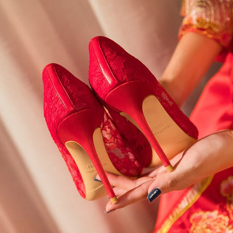 Red Women Lace Bride High Heel Shoes for Chinese Wedding - Chinese Wedding