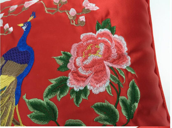 Red Embroidered Peacock Cushion Pillow Cover for Chinese Wedding