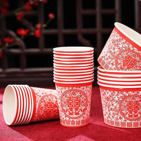 50PCS Disposable Paper Cup for Chinese Wedding