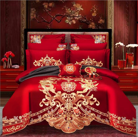 Luxury 100% Cotton Traditional Chinese Wedding Bedding Set - Chinese Wedding