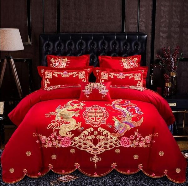 Luxury 100% Cotton Traditional Chinese Wedding Bedding Set