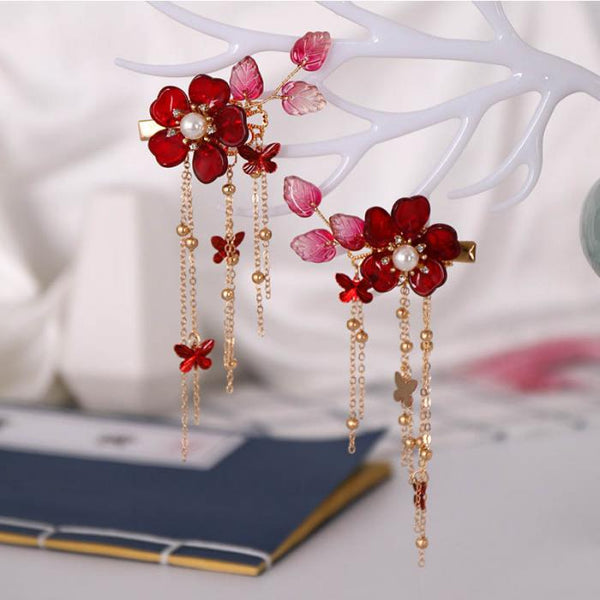 Bridal Red Flower Crystal Hair Accessories for Chinese Wedding