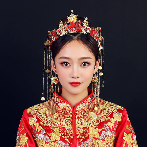 Bridal Red Phoenix Crown Hair Accessories for Chinese Wedding