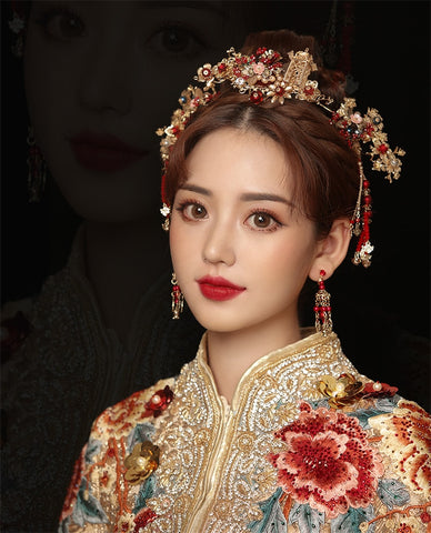 Bridal Red Beads Hair Accessories for Chinese Wedding