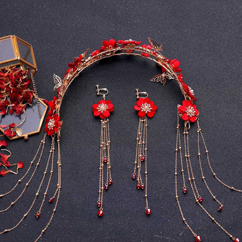 Bridal Red Flower Hair Accessories for Chinese Wedding - Chinese Wedding