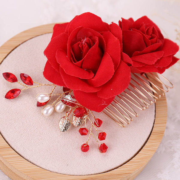 Bridal Red Rose Hair Accessories for Chinese Wedding
