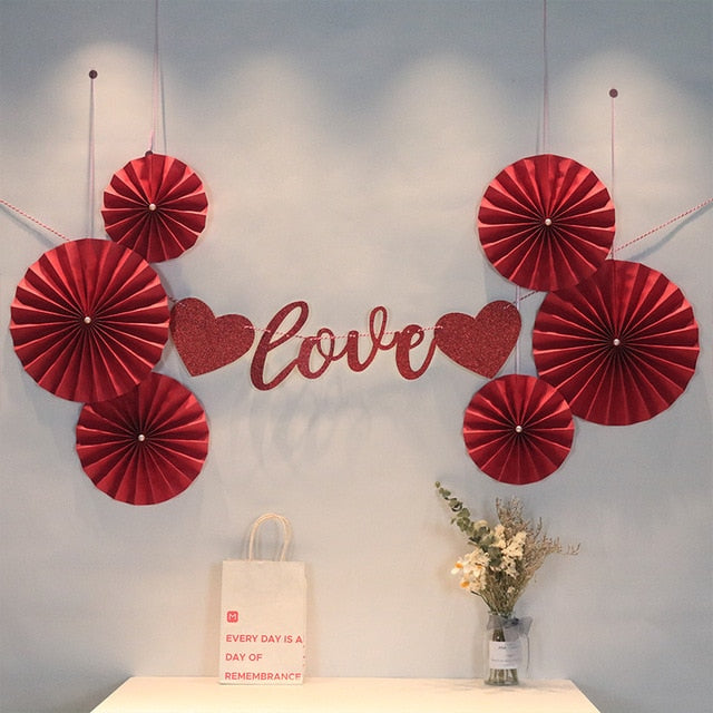 Double Happiness Red Paper Fan Decoration for Chinese Wedding
