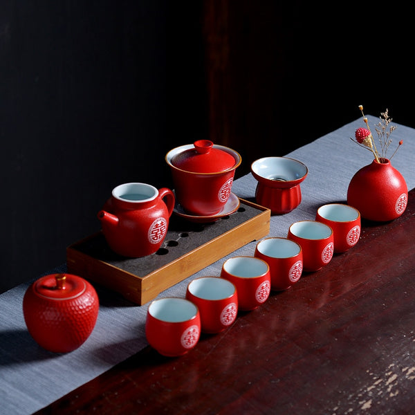 Luxury Double Happiness Ceramic Red Tea Set For Chinese Wedding - Chinese Wedding