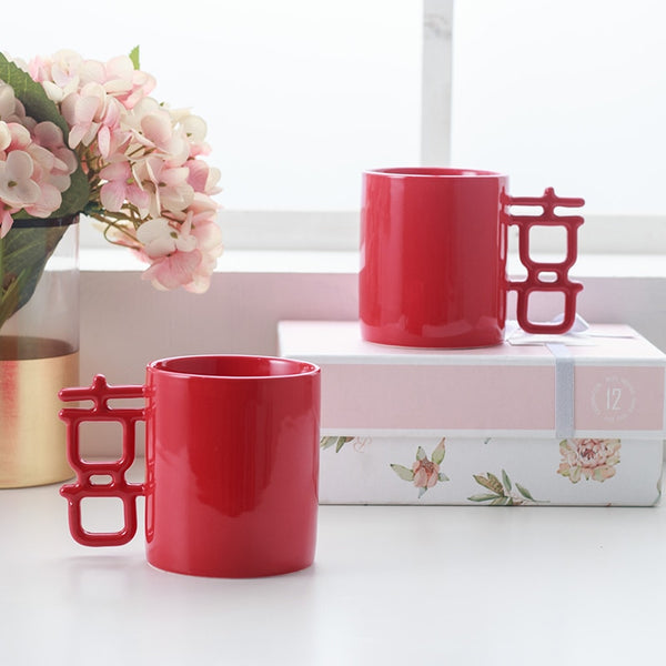 Double Happiness Ceramic Cups for Chinese Weddding
