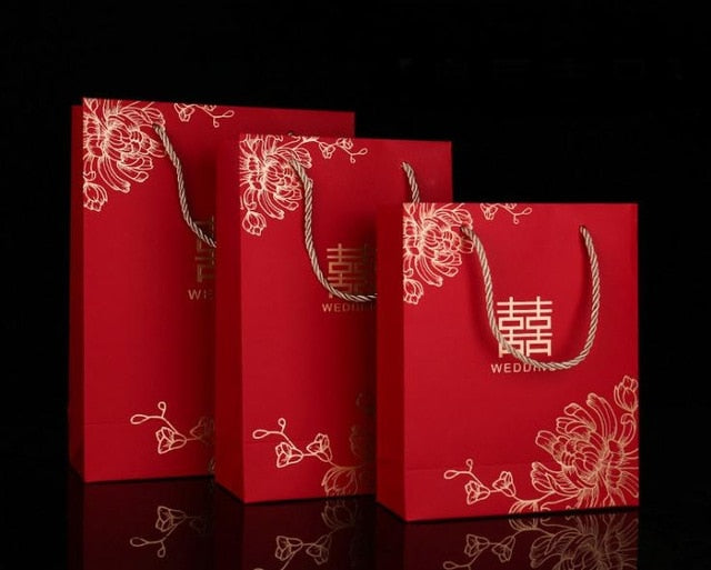 100pcs/lot Double Happiness Paper Gift Bags for Chinese Wedding