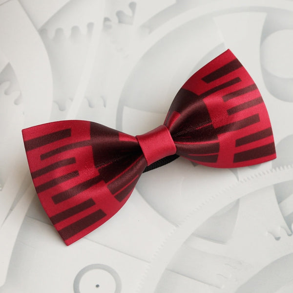Groom Red Double Happiness Bow Tie Wine for Chinese Wedding
