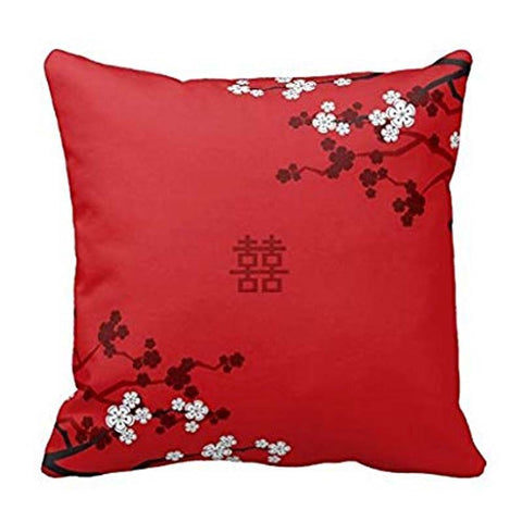 Cherry Blossoms Double Happiness Throw Pillow Case Cushion Cover for Chinese Wedding