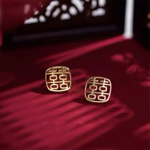 Double Happiness 925 Sterling Silver Earrings for Chinese Wedding