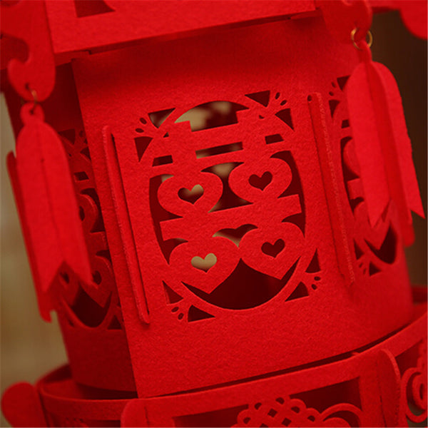 Red Double Happiness Knot Hanging Rooftop Lantern Chinese Wedding Decoration.
