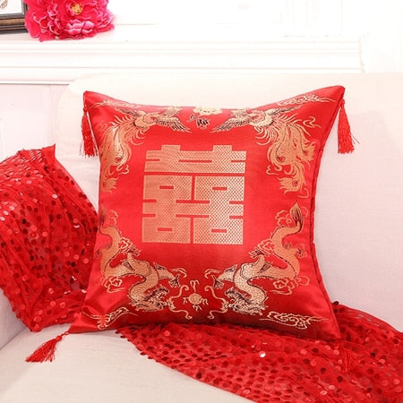 Red Embroidered Double Happiness Pillow Cover with Tassels for Traditional Chinese Wedding - JXA517