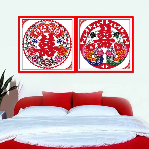 The Peony Double Fish And Double Happiness Home Decor Embroidery DIY Cross Stitch for Chinese Wedding - Chinese Wedding