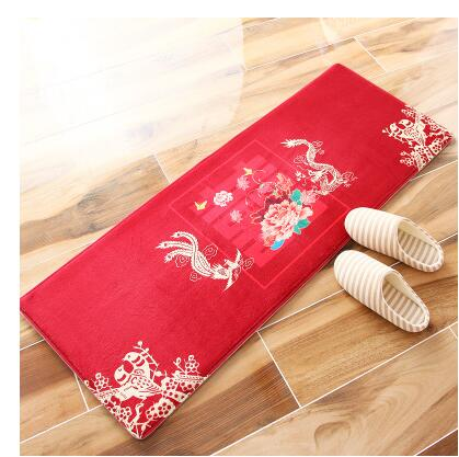 Red Phoenix & Dragon Double Happiness Anti-Slip Carpet Mat for Chinese Wedding