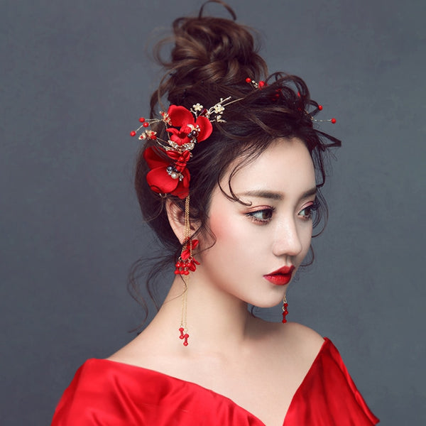 Bridal Red Flower Hair Accessories for Chinese Wedding