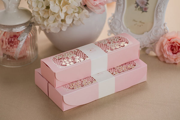 100PCS Double Happiness Flower Box Packing Chinese Wedding Scroll Invitation Card