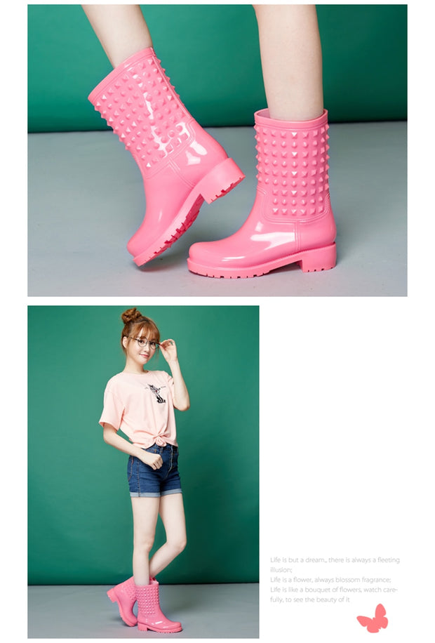 Women Rivets Colorful Non-Slip Rain Boots