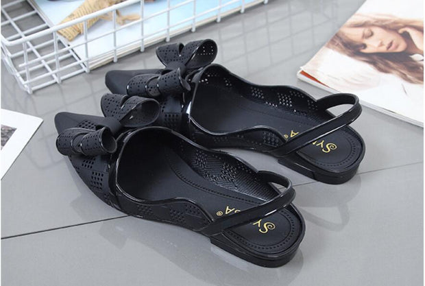 Women Summer Pointed Toe Bow Knot Jelly Shoes